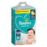 Fralda Descartável Infantil Pampers Confort Sec M com 148 Unidades