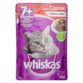 Alimento para Gatos Adultos 7+ Carne ao Molho Whiskas Sachê 85g
