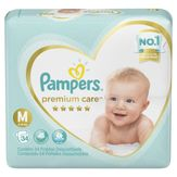 Fralda Descartável Infantil Pampers Premium Care M com 34 Unidades