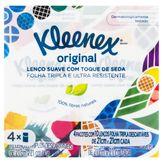 Pack Lenço de Papel Folha Tripla Original Kleenex Pacote 4 Unidades
