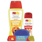 Kit Higiene para Cães com Shampoo 500ml e Condicionador Neutro Perfumado 200ml ProCão Grátis uma Escova