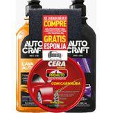 Lava Autos Autocraft 500ml + 1 Limpa Pneus 500ml + 1 Cera Tradicional 200g Proauto Kit 3 Unidades Grátis 1 Esponja
