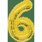 Balão Metalizado Dourado Número 6 Regina 1 Unidade