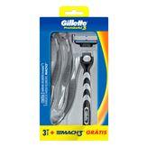 Kit 3 Aparelhos de Barbear Descartável Pestobarba 3 + 1 Aparelho de Barbear Recarregável March 3 Gillette Caixa 4 Unidades