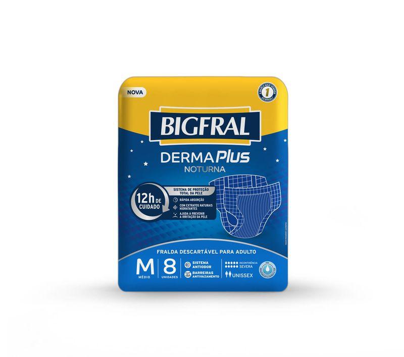 Fralda-Descartavel-Adulto-Derma-Plus-Noturna-Tamanho-M-Bigfral-Pacote-8-Unidades