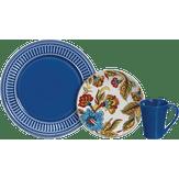 Aparelho de Jantar Azul Floral Scalla Cerâmica 12 Peças