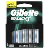 Kit Carga de Aparelho para Barbear Mach3 Gillette Cartela 4 Unidades