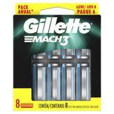 Kit Carga de Aparelho para Barbear Mach3 Gillette Cartela Leve 8 Pague 6 Unidades