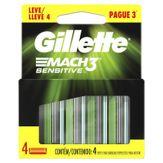 Kit Carga de Aparelho para Barbear Mach3 Sensitive Gillette Cartela Leve 4 Pague 3 Unidades