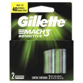 Kit Carga de Aparelho para Barbear Mach3 Sensitive Gillette Cartela 2 Unidades