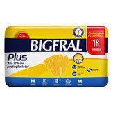 Fralda Descartável Adulto Tamanho M Plus Bigfral Pacote 18 Unidades Embalagem Econômica