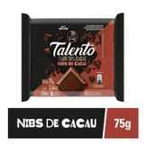 Barra de Chocolate Dark 70% Cacau com Nibs Garoto Talento 75g