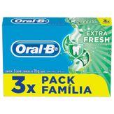 Pack Creme Dental Extra Fresh Oral-B 3 Unidades 70g Cada Família