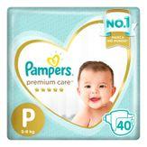 Fralda Descartável Infantil Pampers Premium Care P com 40 Unidades
