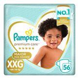 Fralda Descartável Infantil Pampers Premium Care XXG com 56 Unidades