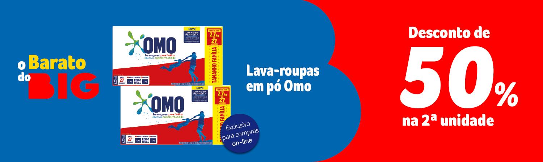 Barato do BIG -  Lava roupas em pó OMO 50% na segunda - Full banner - 24.09