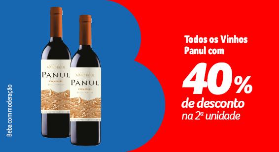 Barato do BIG - Toda categoria VINHOS CHILENOS , PANUL com 40% de desconto na compra da 2 unidade - Destaque - 21.09
