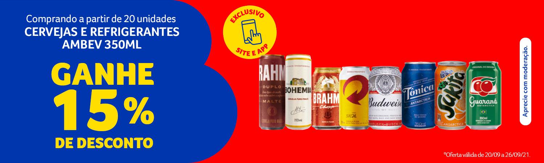 AMBEV - 15% de desconto na compra de 20 unidades de cervejas e refrigerantes de 350 ml - Full Banner - 20.09